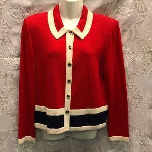 CLASSIC ST JOHN Red/Cream/Blk Knit Jacket Size 10
